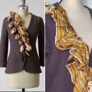 Anthro {Monogram} Brown Wool Scarf Trick Sweater